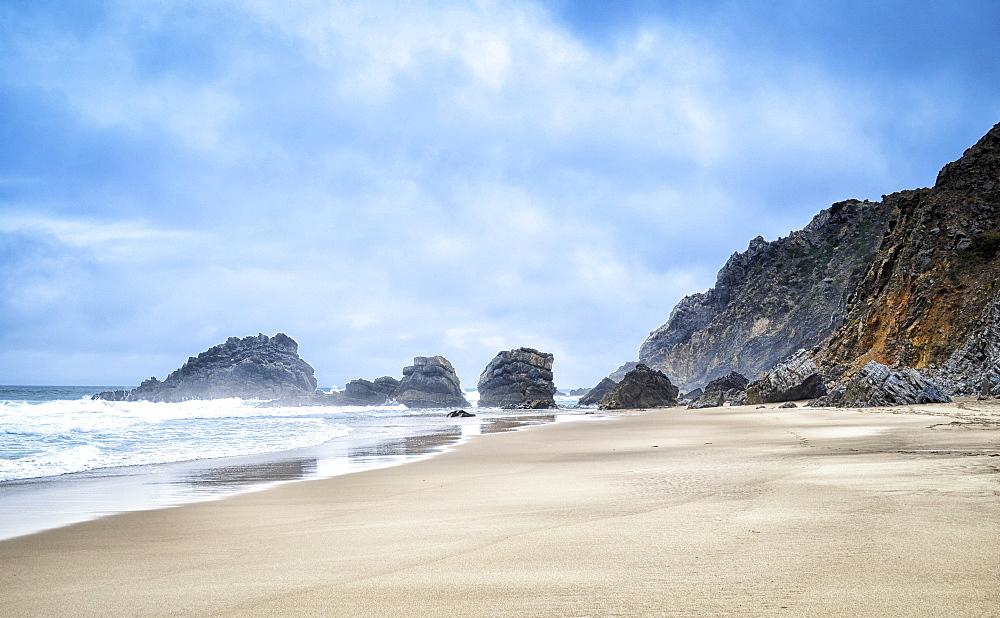 Sandy beach and rocks at Praia de Adraga, Lisbon, Portugal, Praia de Adraga, Portugal