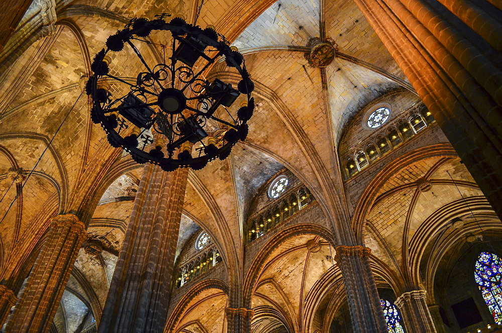 Low angle interior view of vaulting, Cathedral of the Holy Cross and Saint Eulalia, Barcelona, Catalonia, Spain