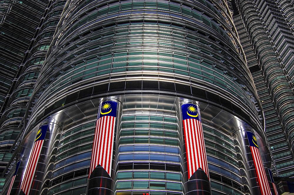 Low angle close up of the exterior of the Petronas Towers, Kuala Lumpur, Kuala Lumpur, Malaysia