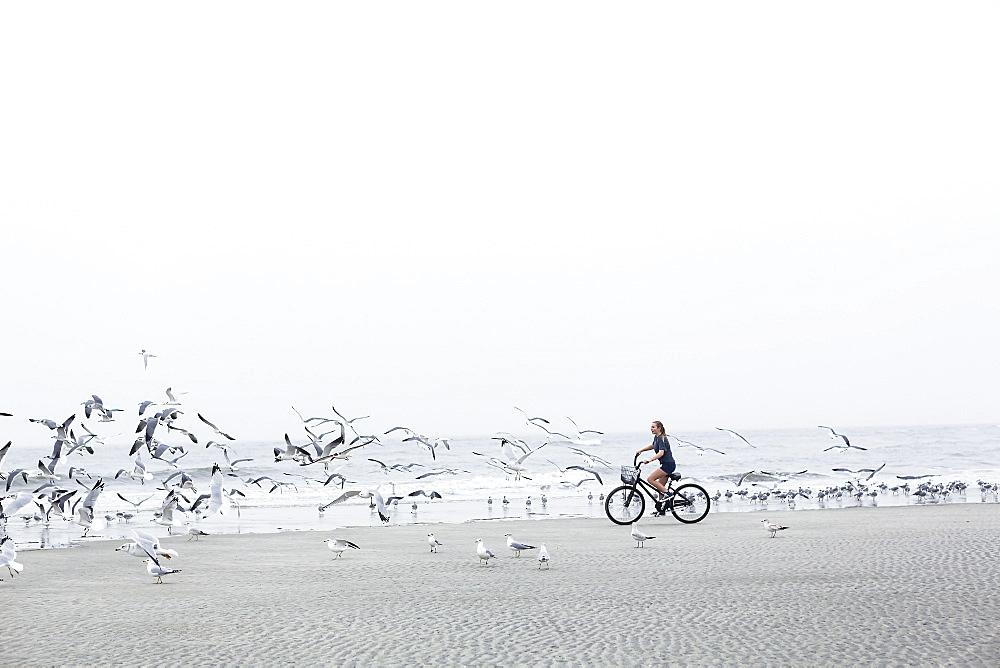 A teenage girl biking on a sandy beach by the ocean, St Simon's Island, Georgia, United States - 1174-7756