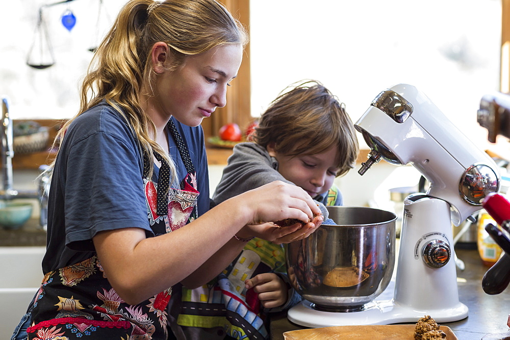 A teenage girl and her 6 year old brother in a kitchen, using a mixing bowl, United States