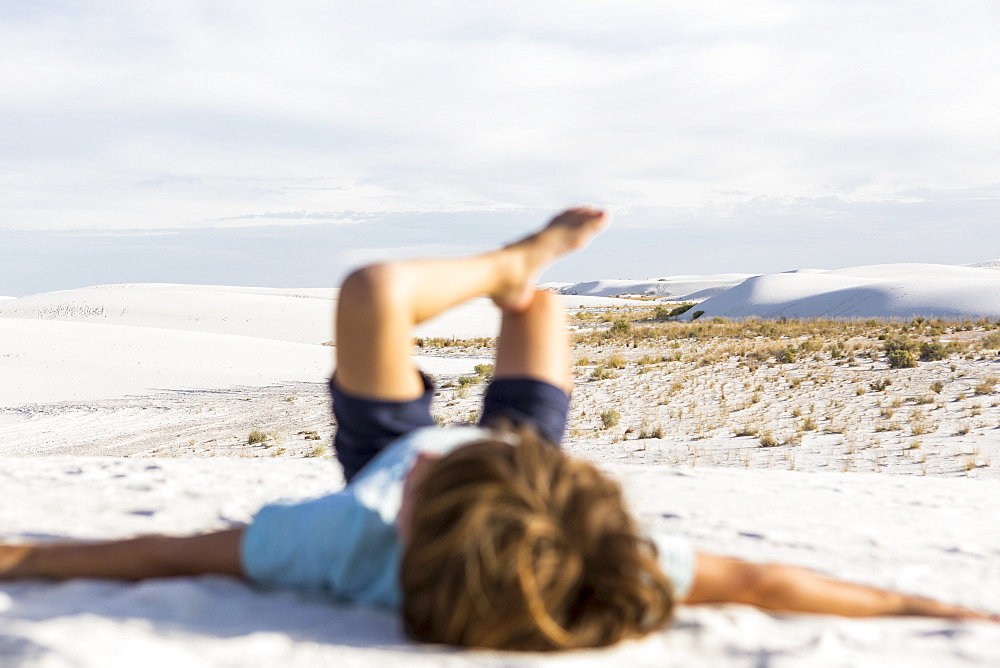 blurred young boy, White Sands National Monument, New Mexico, United States
