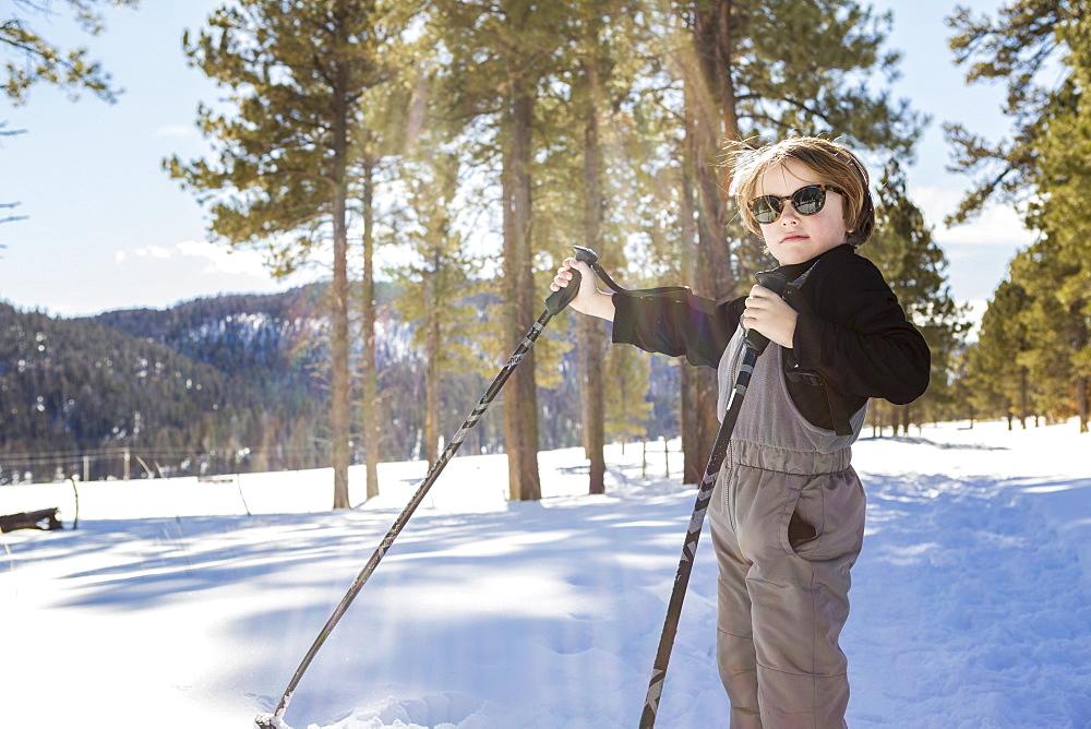 A six year old boy in woodland holding ski poles - 1174-7968