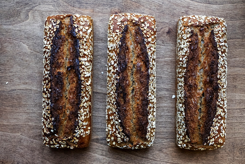 High angle close up of three freshly baked seeded loaves of bread in an artisan bakery. - 1174-7999
