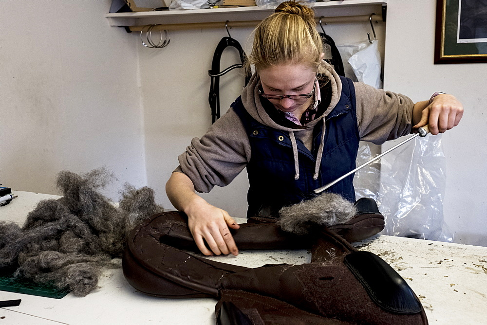 Female saddler standing in workshop, stuffing leather saddle with horse hair, Berkshire, United Kingdom
