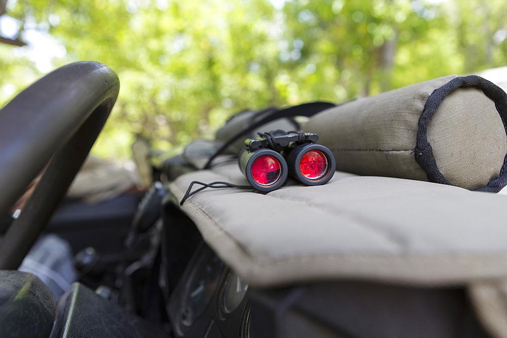 Binoculars on the dashboard of a safari jeep, Botswana