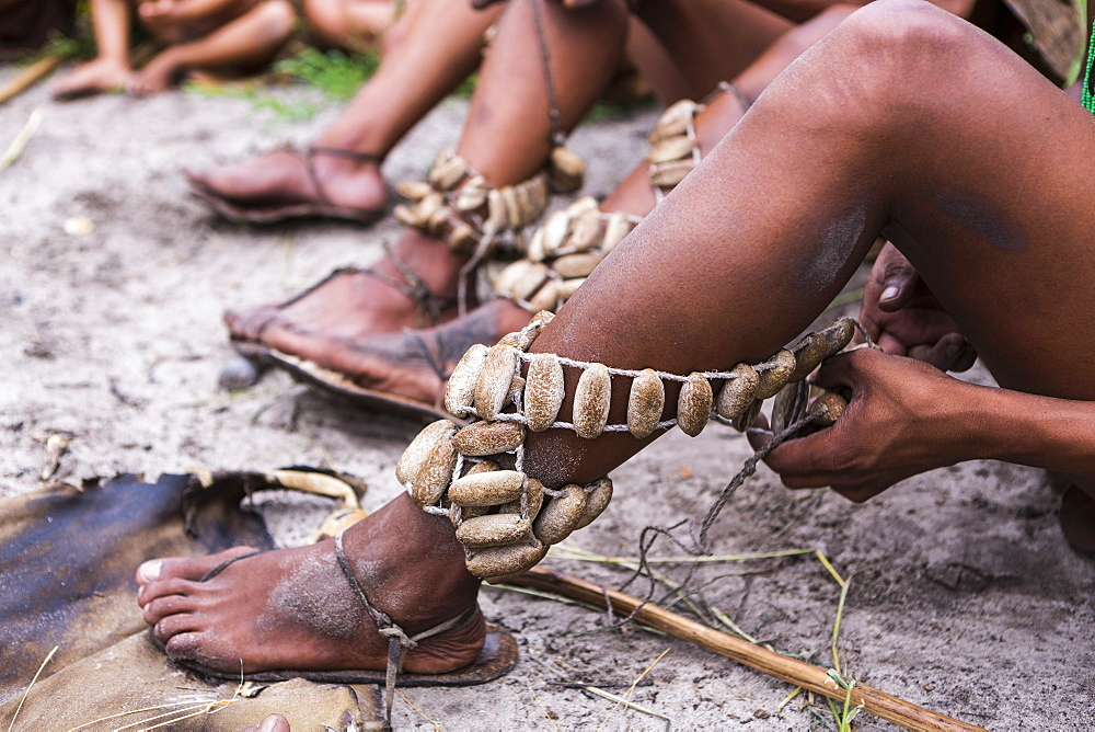 Leg decorations, traditional tribal ceremonial garters worn by the San People bushmen