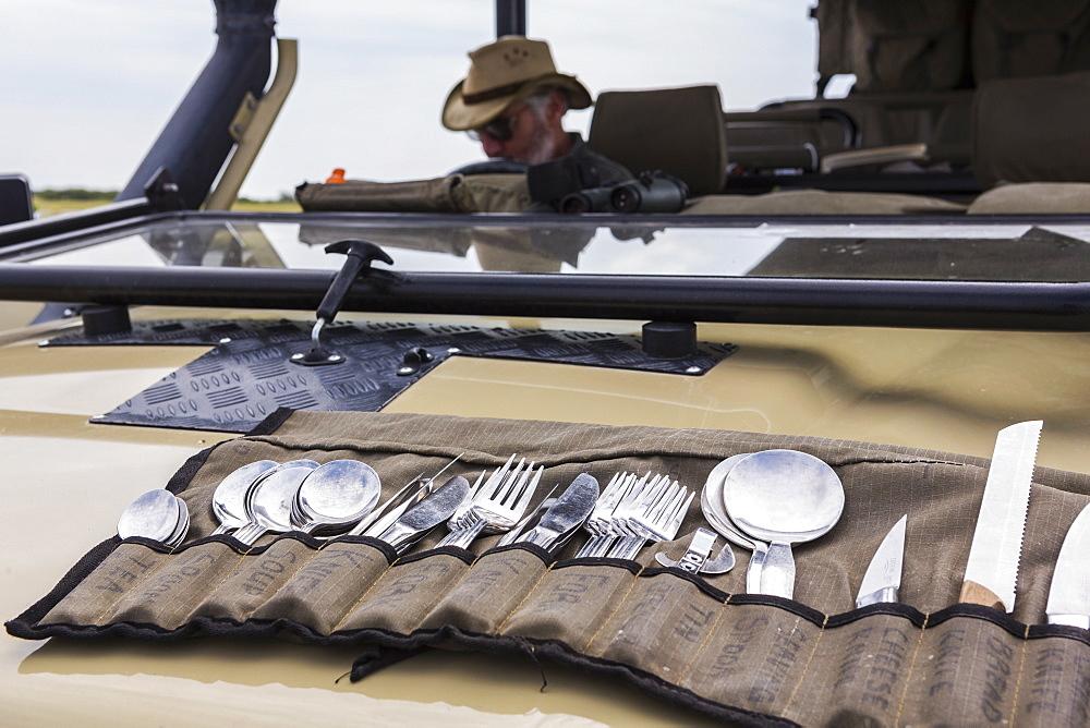 utensils on safari vehicle, Botswana