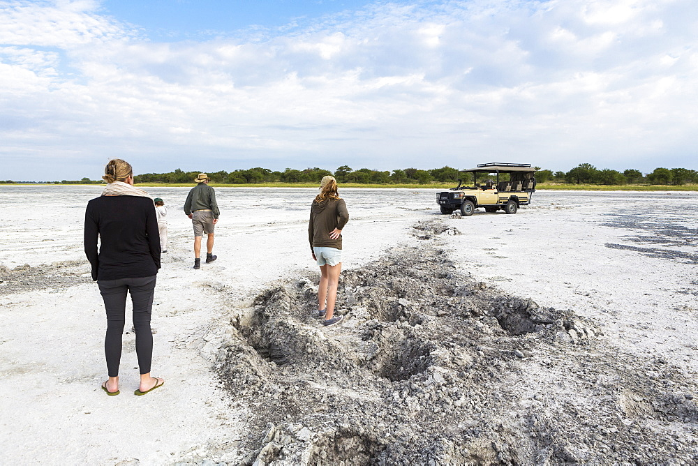 family looking at elephant footprints, Nxai Pan, Botswana