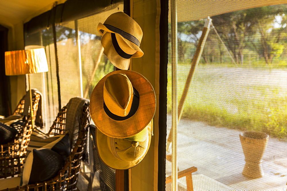 hats hanging on stand, Maun, Botswana