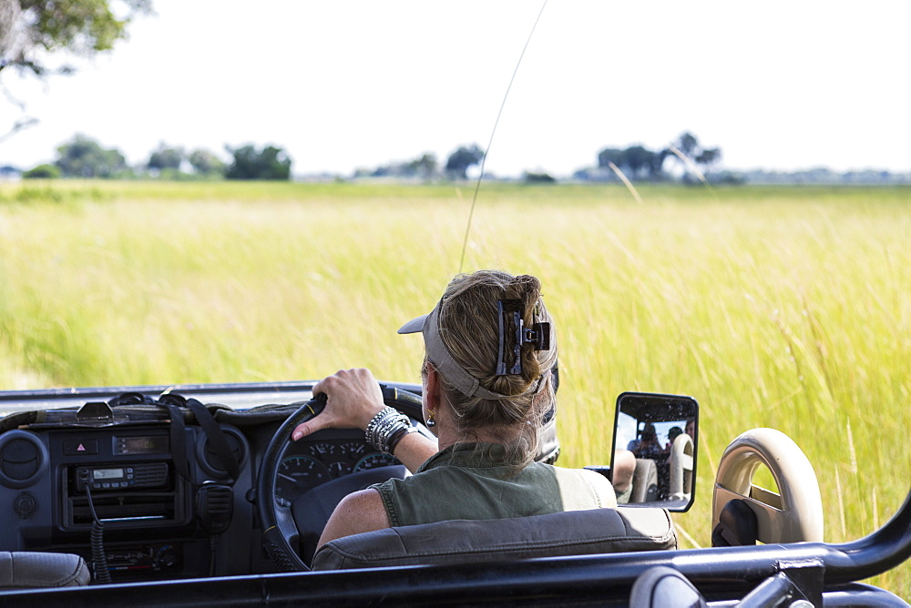 adult woman driving safari vehicle, Botswana
