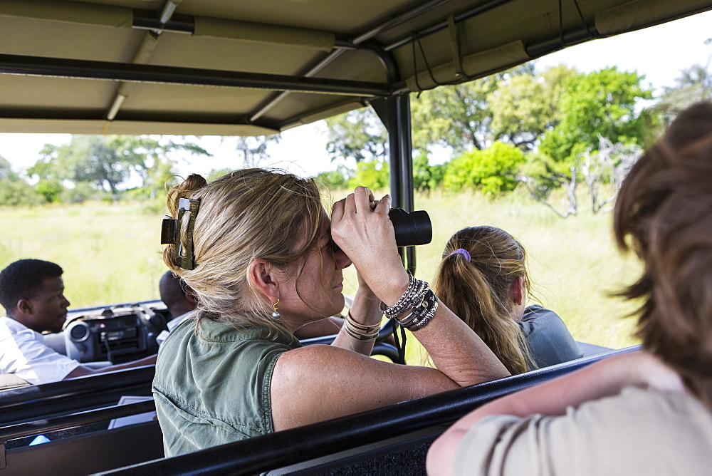 adult woman using binoculars in safari vehicle, Botswana