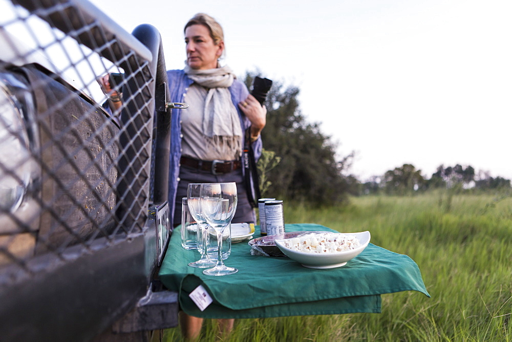 snacks and drinks on fold out table, safari vehicle, Botswana