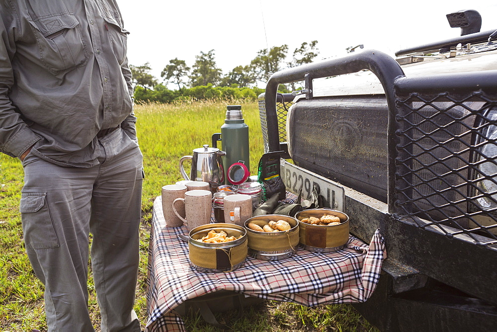 detail of snacks and drinks on safari vehicle, Botswana