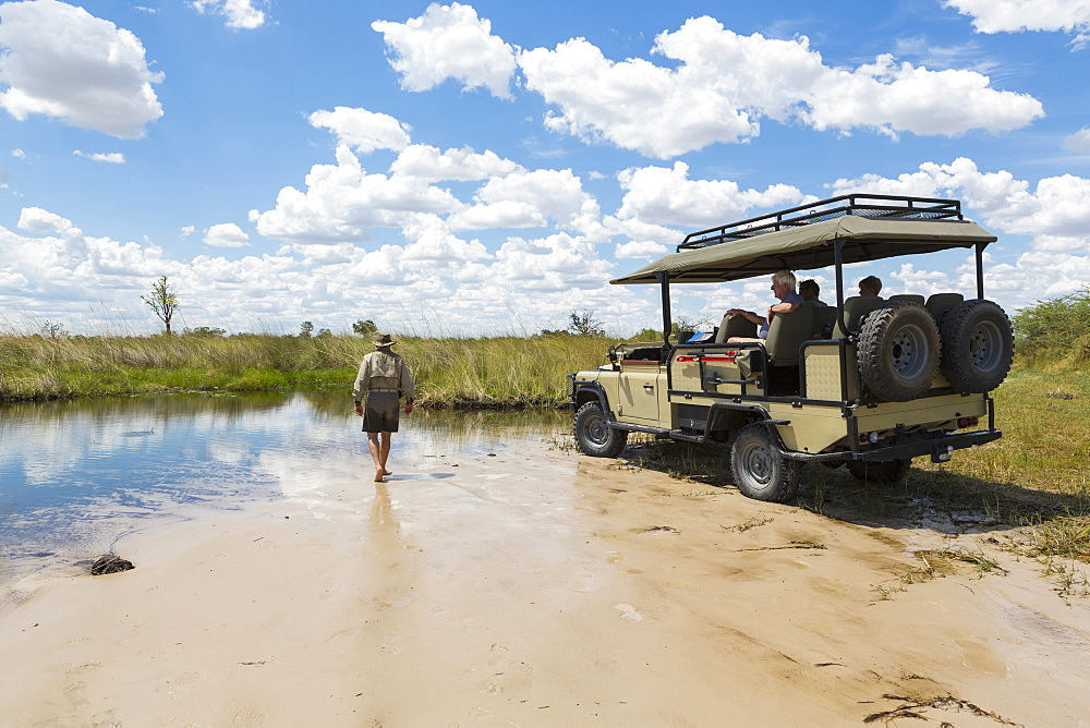A safari vehicle with passengers, and a guide walking across sand, Okavango Delta, Botswana