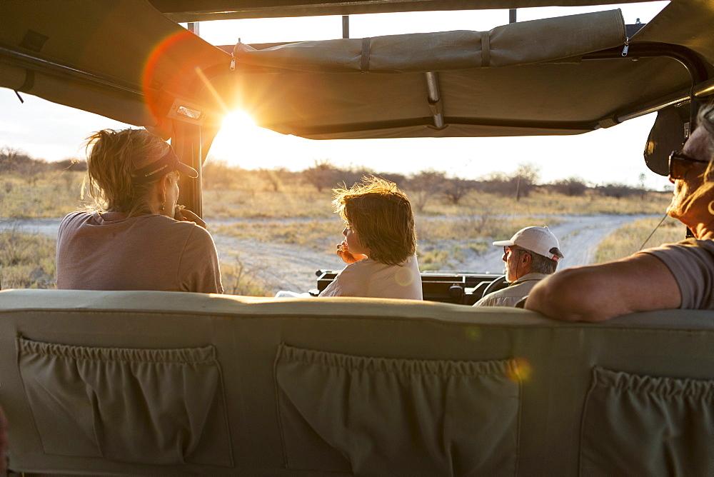 family in safari vehicle, Kalahari Desert, Makgadikgadi Salt Pans, Botswana