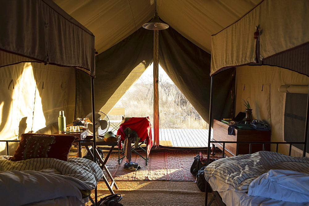 A bedroom in a tented camp, Kalahari Desert