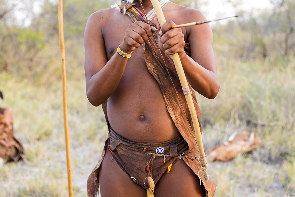 A San Bushman holding bow and arrow, Kalahari Desert