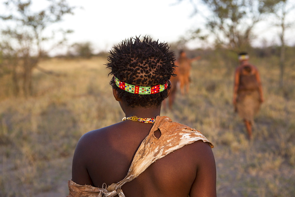 Rear view of a San Bushman, head and shoulders