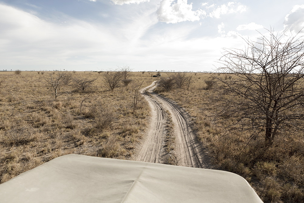 A safari vehicle on a road snaking across the landscape