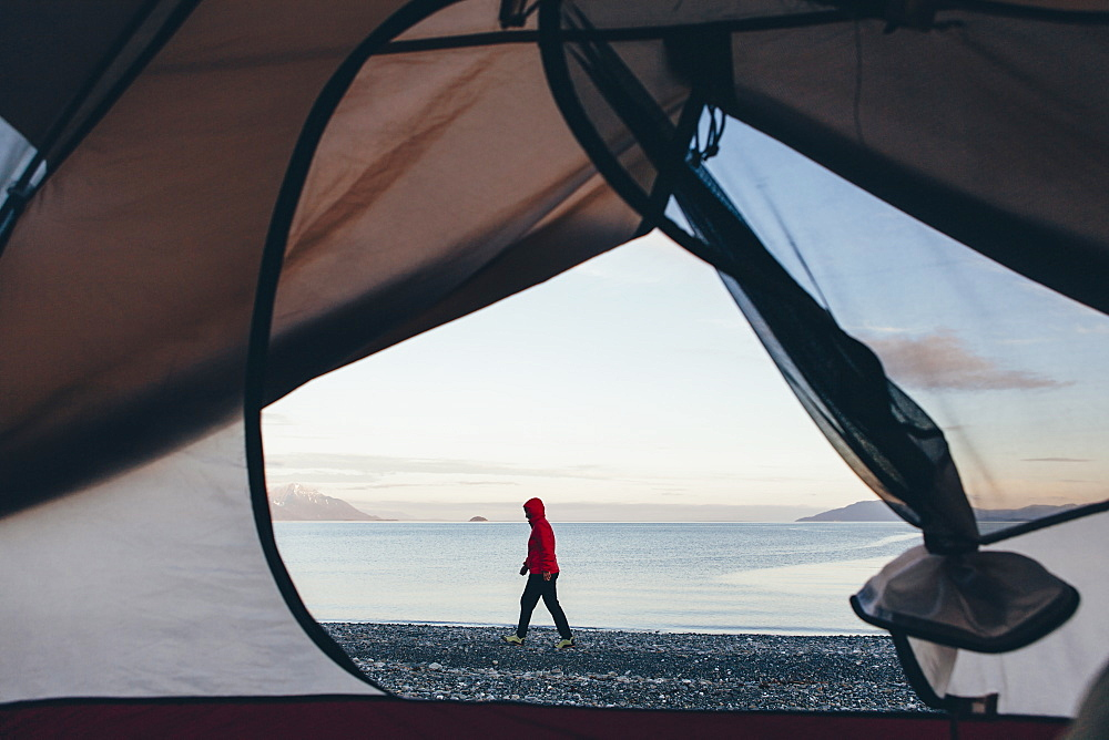 View through doorway of camping tent of woman walking on beach Muir Inlet in distance, Glacier Bay National Park, Alaska