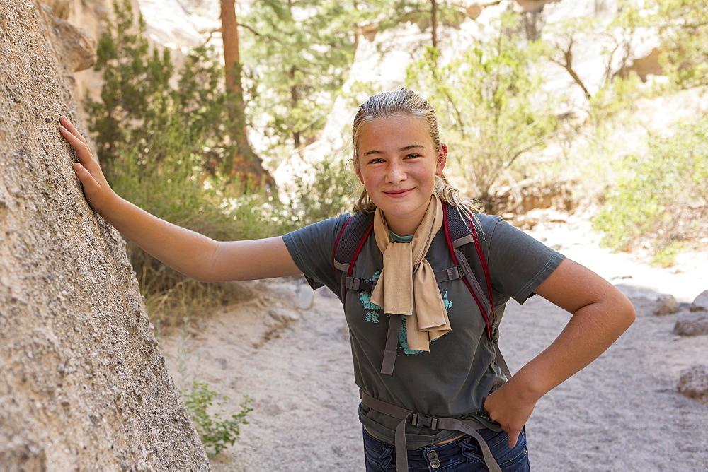 12 year old girl hiking in beautiful slot canyon Kasha Katuwe Tent Rocks, New Mexico - 1174-9005