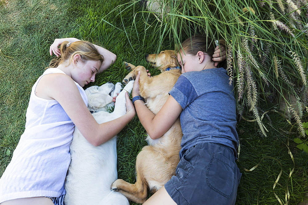 Two teenage girls lying on lawn, hugging their Golden Retriever dogs, New Mexico, United States - 1174-9224