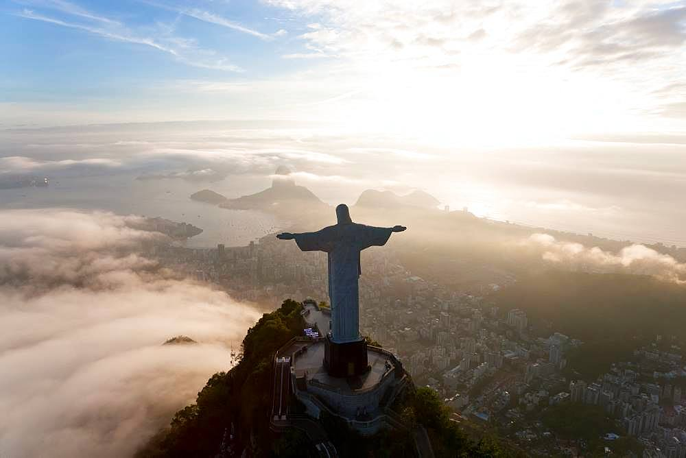 View of the Art Deco statue of Christ the Redeemer on Corcovado mountain in Rio de Janeiro, Brazil - 1174-9344