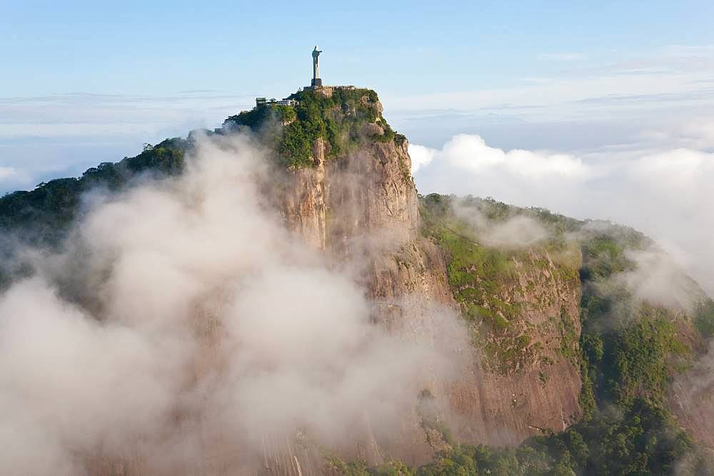 View of the Art Deco statue of Christ the Redeemer on Corcovado mountain in Rio de Janeiro, Brazil - 1174-9348