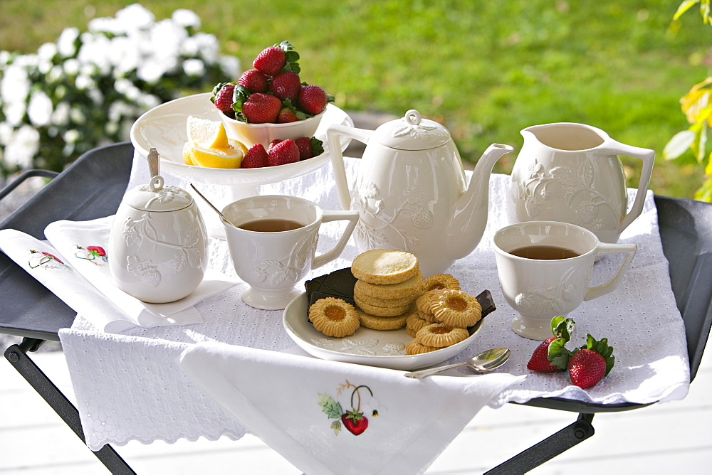 A traditional afternoon tea set out on a tea tray in a garden with white china and strawberries, Maryland, USA