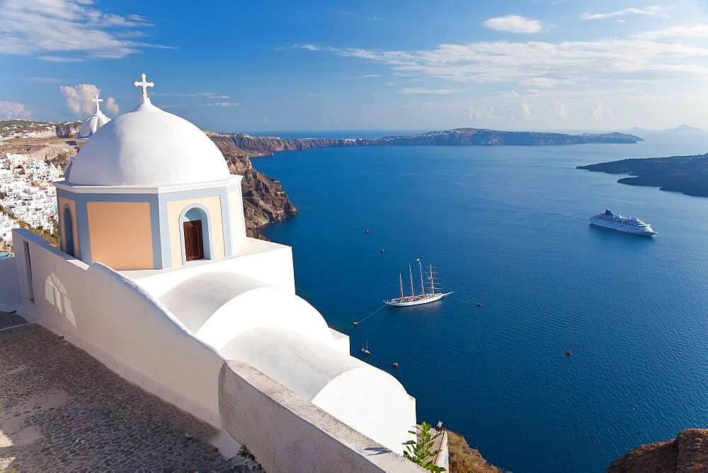 Church and cruise ship in Fira, Santorini, Cyclades Islands, Greece - 1174-9750