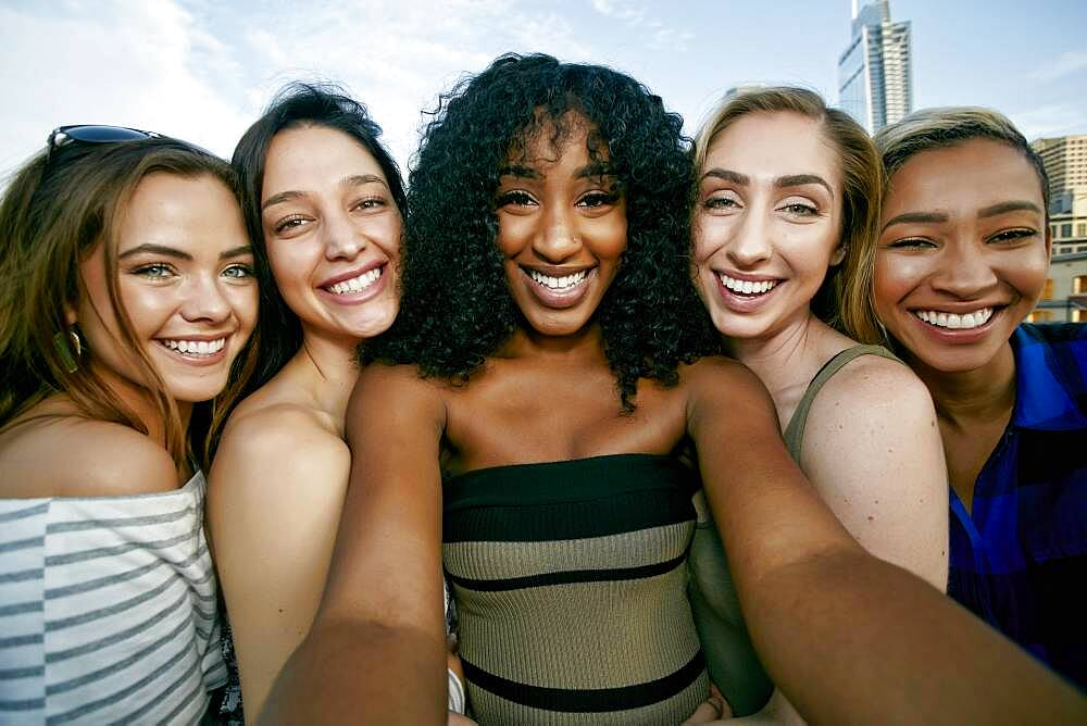 A group of five young women posing for a selfie - 1174-9942