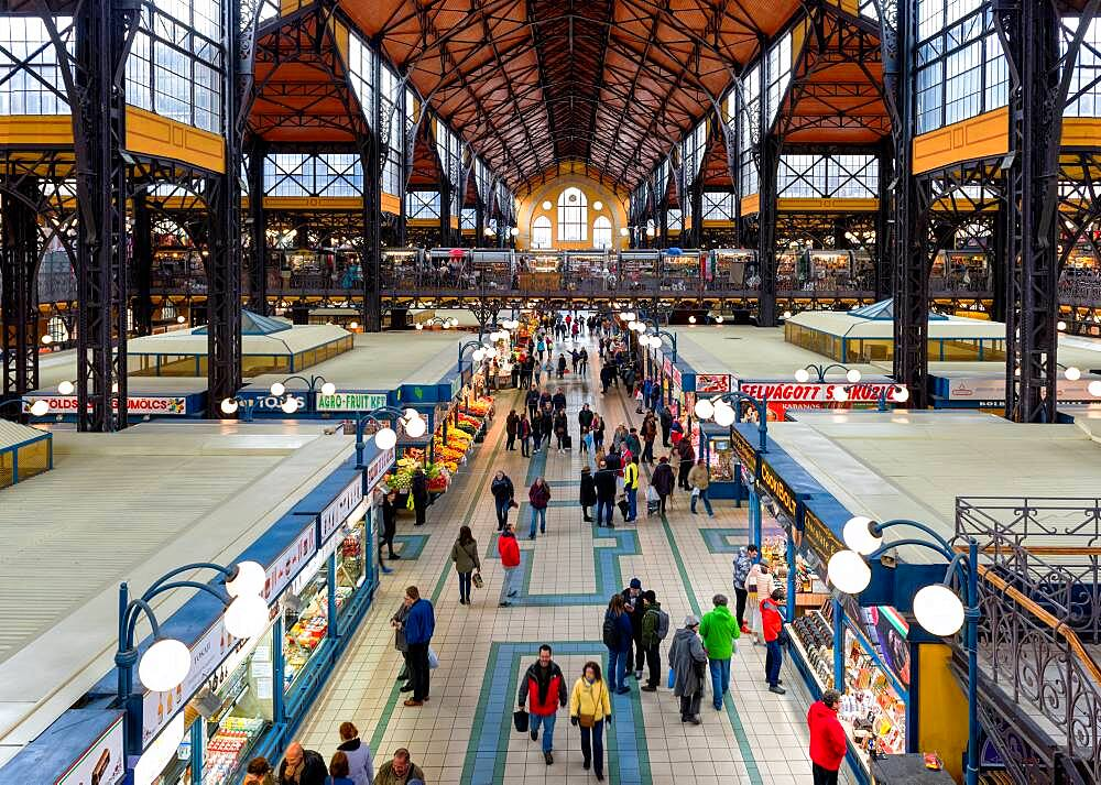 Budapest Great Market Hall, elevated view of food market stalls and people shopping. - 1174-9980