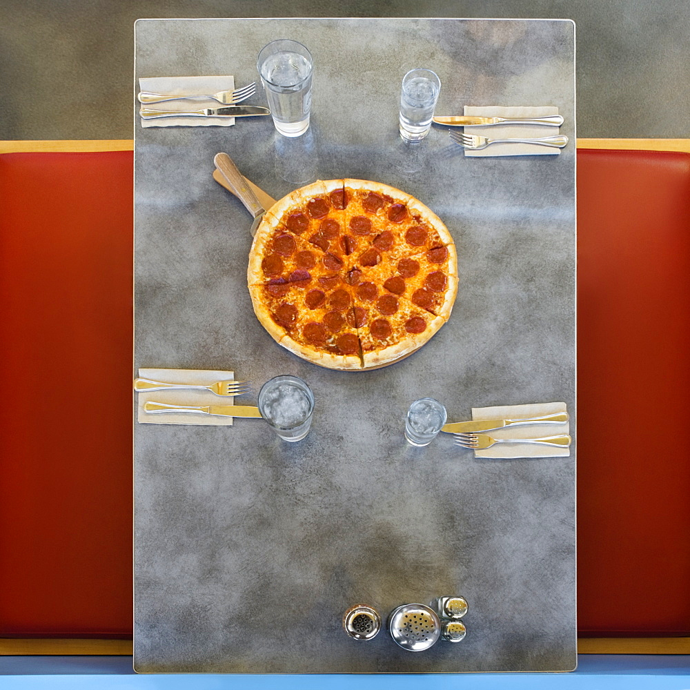 Pizza on table in restaurant, Shoreline, Washington, United States of America