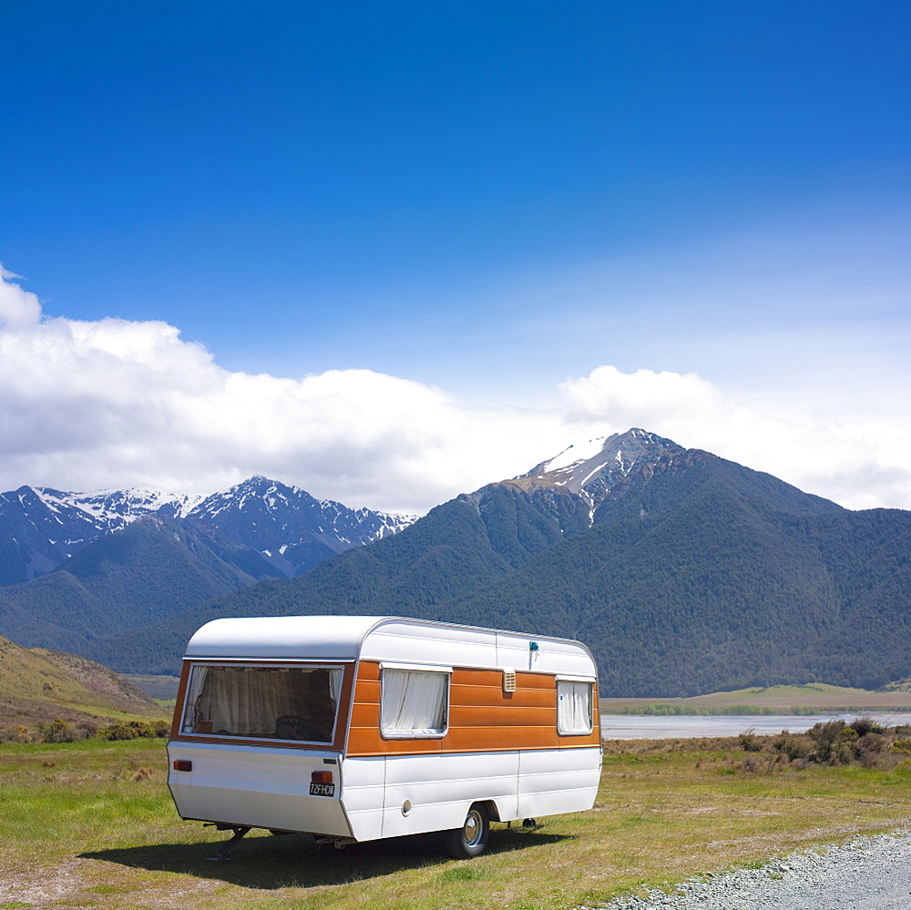 Caravan in Mountains Landscape, New Zealand