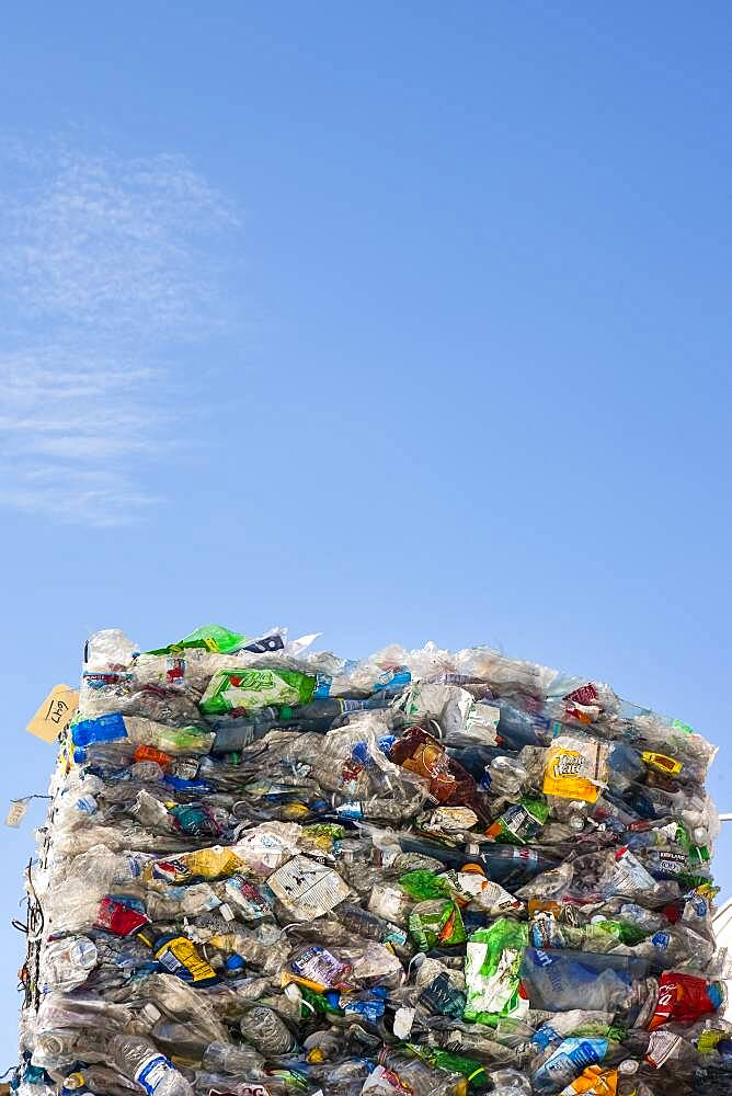 Commercial waste management, bales of recycling materials, plastics stacked up. - 1174-10013