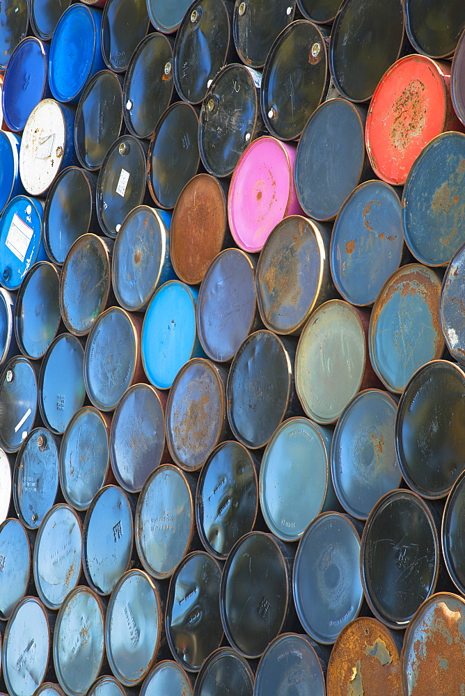 Oil barrels stacked up, Seattle, Washington, USA