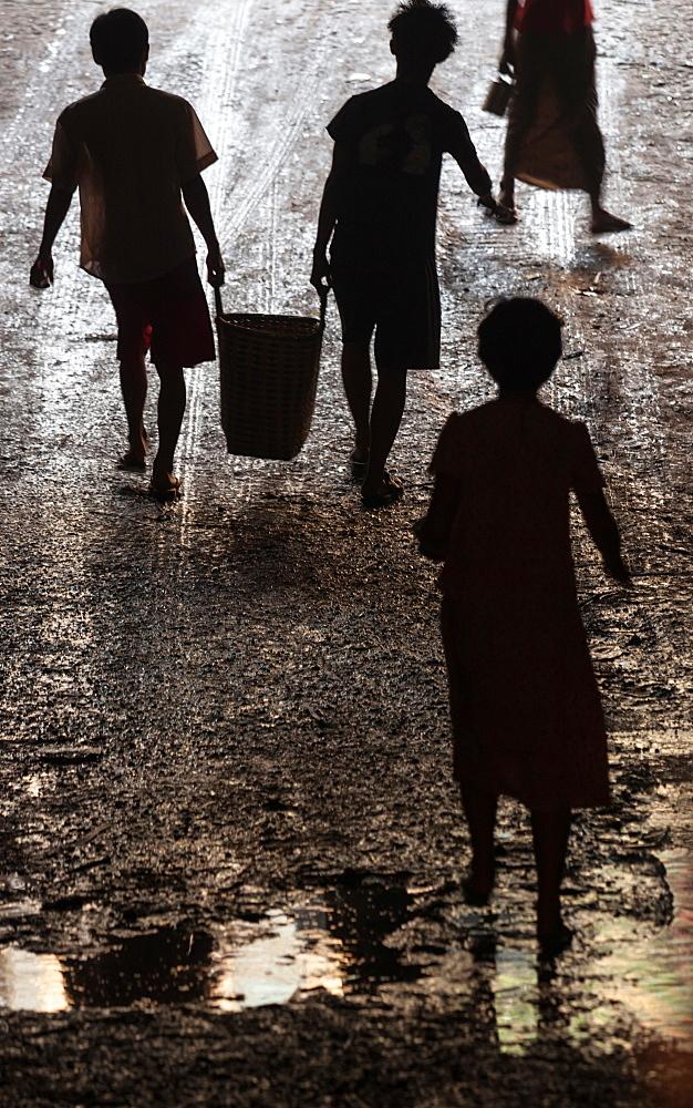 Children in the streets of Yangon, Myanmar, Yangon, Myanmar
