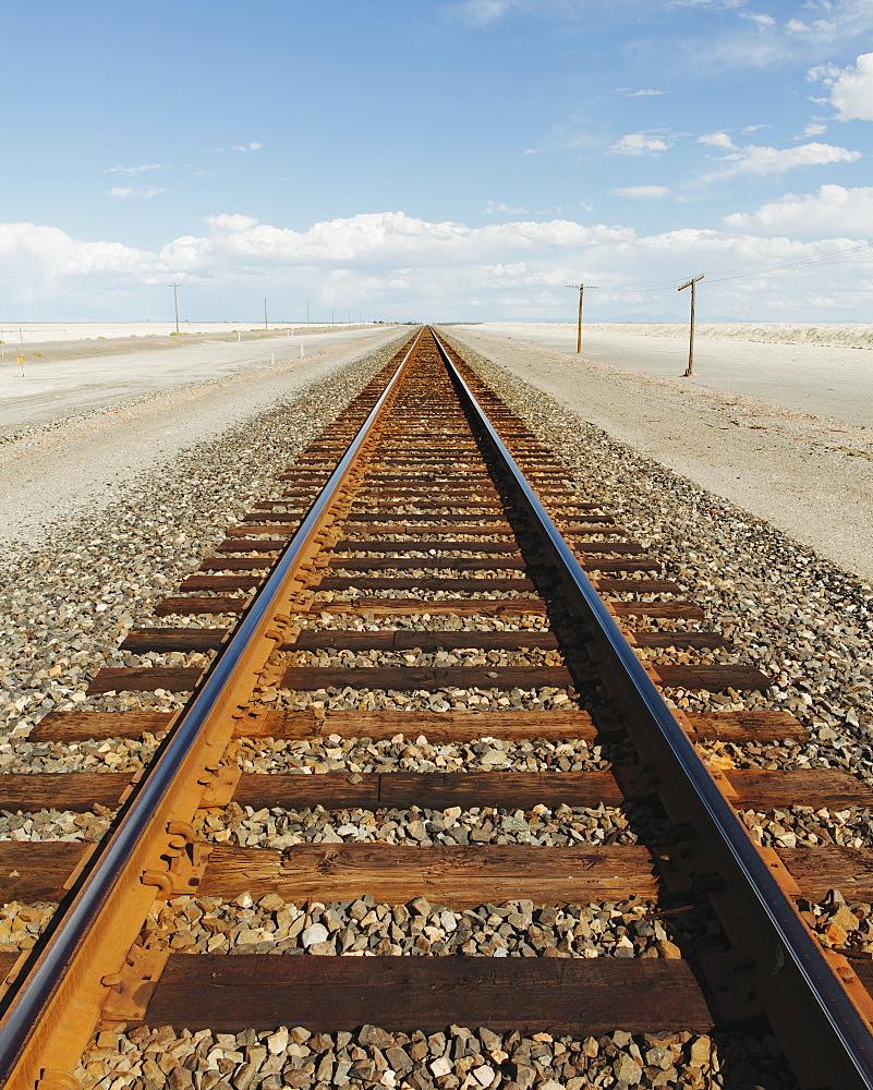 A railroad extending through the desert, near Wendover in Utah, Umatilla County, Oregon, USA