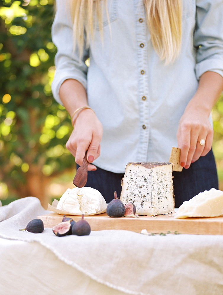 An apple orchard in Utah. Woman standing at a table with food, a cheese board, Sataquin, Utah, United States of America