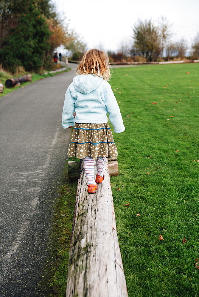 View from behind of a four year old girl walking and balancing on a log, King County, Washington, USA