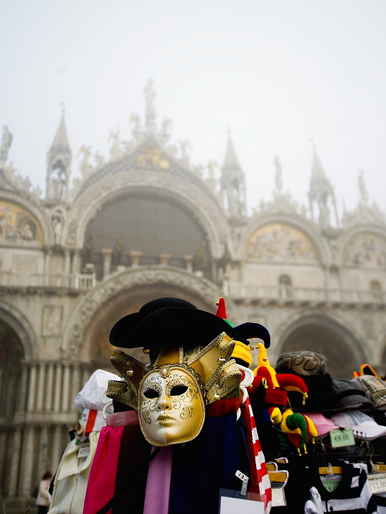 Piazza San Marco and the Basilica San Marco, A stall selling carnival masks and hats, Venice, Italy