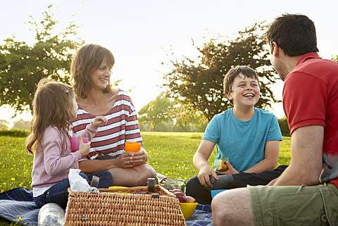 A family, two parents and two children outdoors in the summer having a picnic, England, United Kingdom