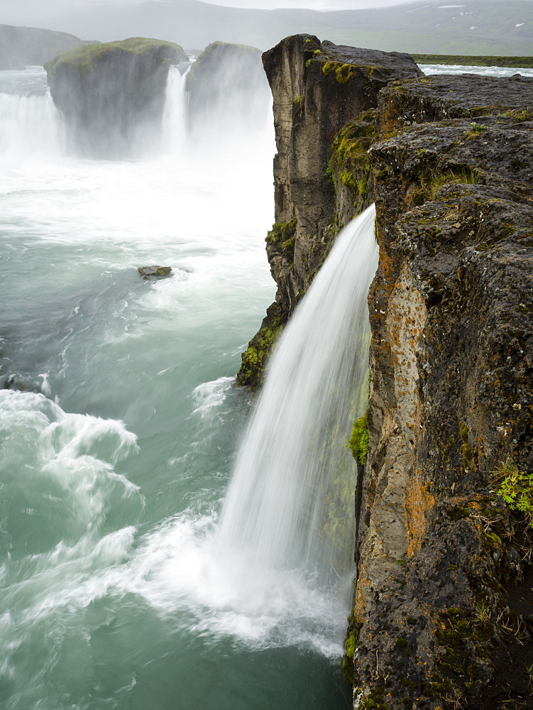 Selfoss waterfall, a cascade of water over a sheer cliff, Iceland