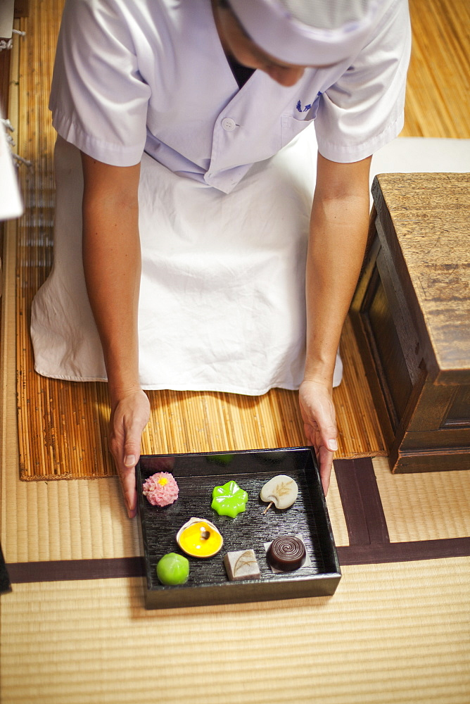 A small artisan producer of specialist treats, sweets called wagashi. A chef presenting a tray of selected wagashi of different shapes and flavours, Japan