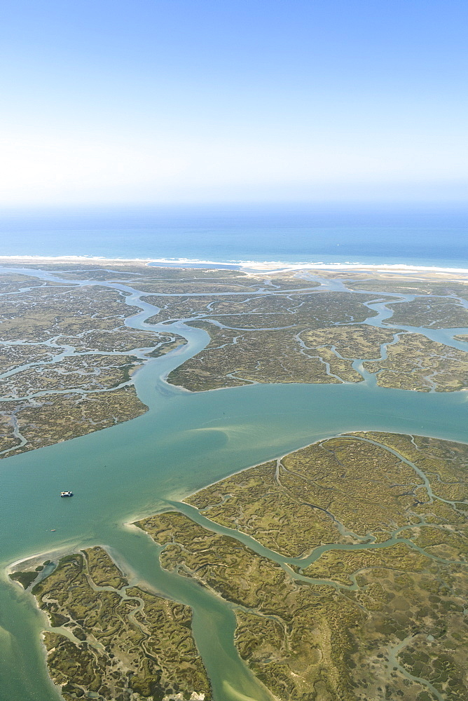 Aerial view of marshland near the coast in Andalusia, Spain