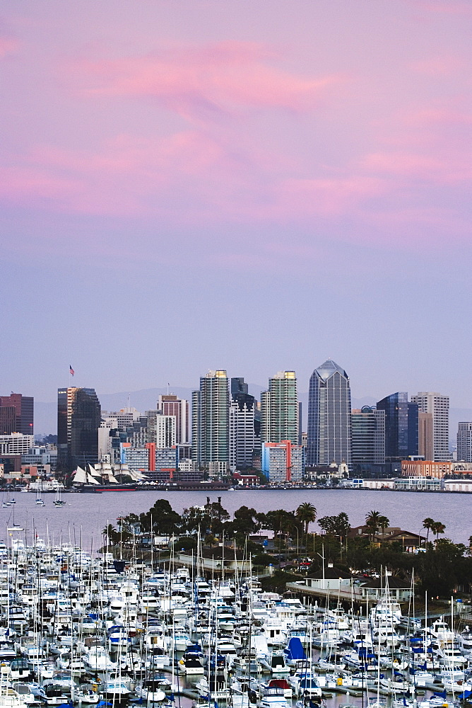 San Diego Skyline and Marina at Dusk, San Diego, California, United States of America