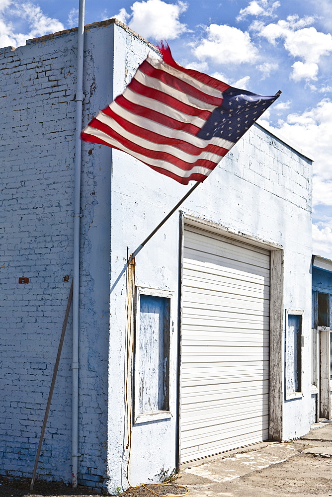 American Flag on an Abandoned Building, Moscow, ID, United States of America - 1174-5325