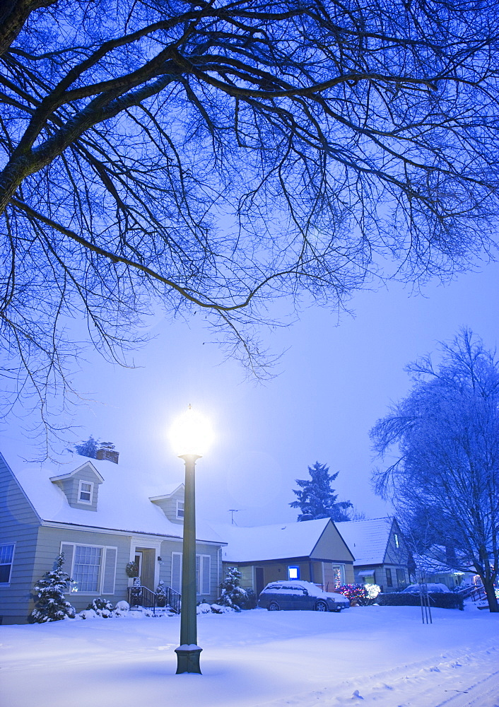 Residential Street in Winter, Portland, Oregon, United States of America