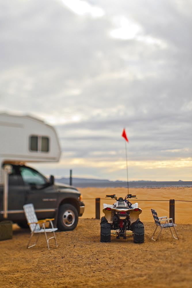 Truck, Trailer and ATV, Imperial Sand Dunes, California, United States of America